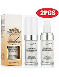 30ml TLM Concealer Cover Cream Flawless Colour Changing Foundation Makeup Base Nude Face Liquid Cover Concealer Changing Warm Skin Tone Moisturizing Cover for women&girls(2pcs)
