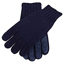 Navy Knitted Cashmere Gloves by Dents - Medium