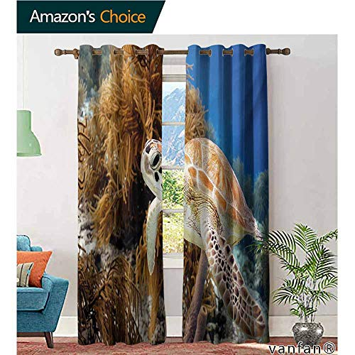 Big datastore Patio Curtain Panel,TurtleCoral Reef and Sea Turtle Close Up Photo Bonaire Island Waters Maritime,Set of 2 Pieces,Pale Coffee Brown Blue,W96 -