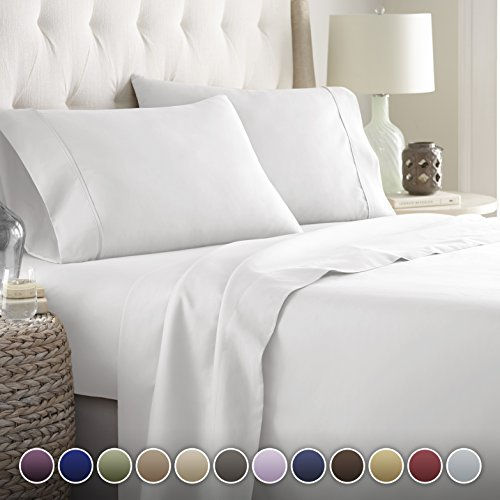Hotel Luxury Bed Sheets Set 1800 Series Platinum Collection Deep Pocket Wrinkle Fade Resistant Full White