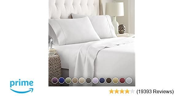 Amazon.com: HC Collection Bed Sheets Set, HOTEL LUXURY Platinum Collection  1800 Series Bedding Set, Deep Pockets, Wrinkle U0026 Fade Resistant, ...
