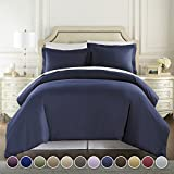Hotel Luxury 3pc Duvet Cover Set-1500 Thread Count Egyptian Quality Ultra Silky Soft Premium Bedding Collection -Queen Size Navy Blue