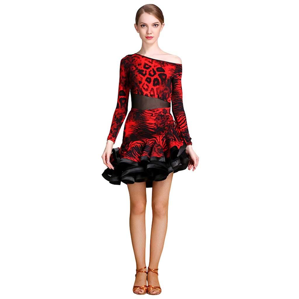 女性のアダルトレッドラテンダンスドレス、ナショナルダンスドレスラテンのパフォーマンススカート B07H95S8CB S s|レッド レッド S s