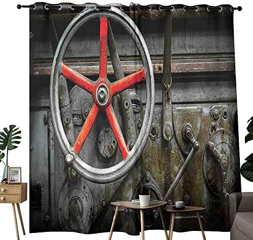duommhome Industrial Decor Collection Living Room Curtain Past Outdated Technology Automation Control Wrecked Classic Workshops Beautiful and Elegant W84 xL96 Red Grey