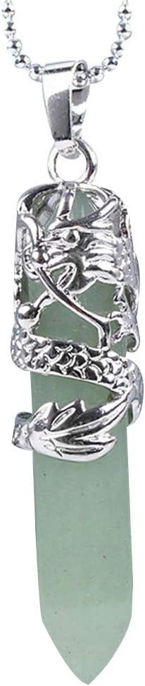 Arichtop Unisex Hexagonal Piedra Natural de Cristal Colgante Collar de Cuello de Las Mujeres Collar de la joyer/ía Tipo 10