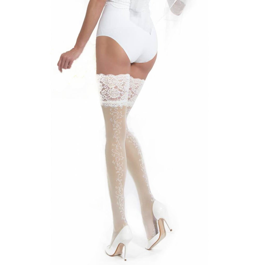 Conte Women's Floral Thigh High Wedding Stockings with Wide Lace Decorative Band - Ivory, Extra-Small - Small by Conte elegant