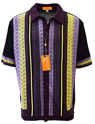 Black Short Sleeve Economy Shirt (SAFIRE SILK INC. Edition S Men's Short Sleeve Knit Shirt- California Rockabilly Style: Diamond Plate Design- 3008 (Large, Black))