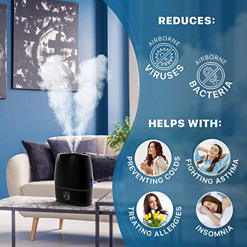 Everlasting Comfort Ultrasonic Cool Mist Humidifier (6L) - Essential Oil Tray, High Output, Ultra Quiet, Auto Shut Off, Night Light, Large Capacity Vaporizer, 6L, Black