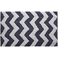 Jean Pierre Reversible Cotton ZigZag 21' x 34' Bath Rug, Denim Blue