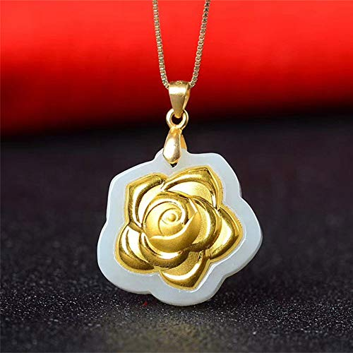 (Hetian Jade Rose Pendant Necklace Gold Jade Flower Necklace Lucky Amulet Lovers Jewelry for Men Women Gift )