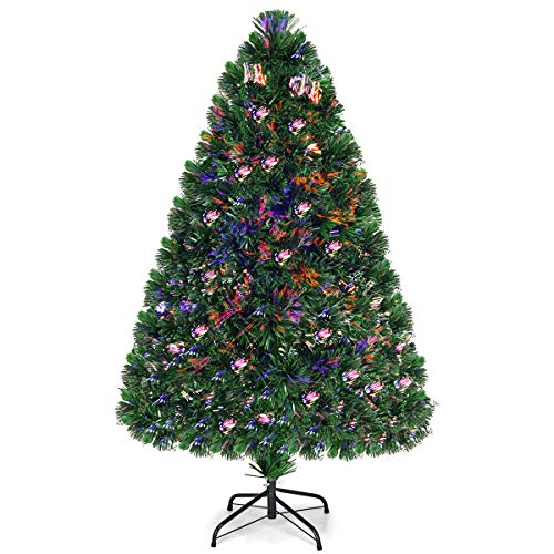 Goplus Artificial PVC Christmas Tree Pre-Lit Fiber Optic Tree (4 FT) (Tree Parts Fibre Christmas Optic)