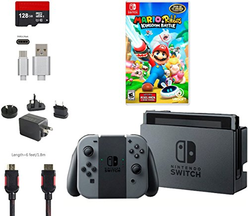 Nintendo Switch Bundle  6 Items   32Gb Console Gray Joy Con  128Gb Micro Sd Card  Game Disc Mario   Rabbids Kingdom Battle  Type C Cable  Hdmi Cable Wall Charger