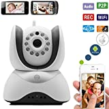 The Best HD Video Baby Monitor Wifi Surveillance Camera 2 Way Audio, Infrared Night Vision! Be Connected to Your Love Ones & Keep Your Family Secure (White)
