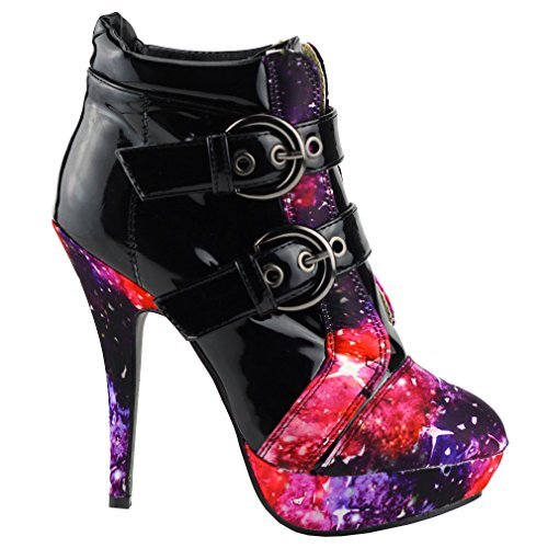 Show Story Black Buckle Night Sky High Heel Stiletto Platform Ankle Boots,LF30301BK37,6US,Black (Sexy Buckle)