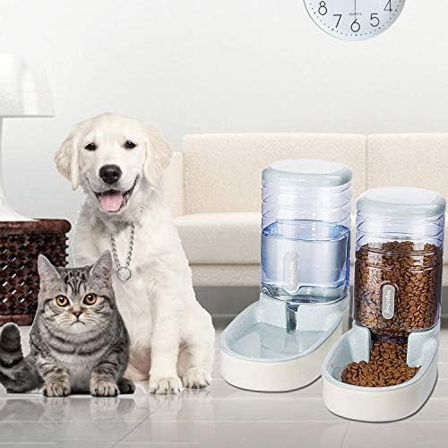 UniqueFit - Comedero automático para Mascotas, Gatos, Perros y Gatos, 3,8 l, con 1 dispensador de Agua y 1 alimentador automático para Mascotas 8