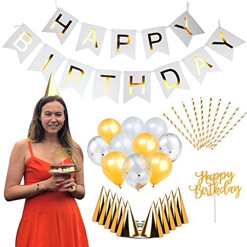 THE HAPPY HOSTESS EVENTS Complete Gold Birthday Party Decoration Kit, Bday Supplies, Luxury Decor for Girls, Adults. Includes Gold Foil Banner, Confetti Balloons, Cake Topper, Straws, 10 Party Hats