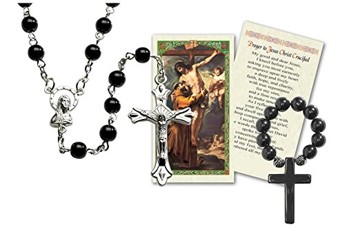 Cards Prayer Rosary (Black Gem Rosary Made in Italy Includes Hematite Finger Rosary and a Free Laminated Prayer Card Blessed By HIS Holiness Pope Francis)