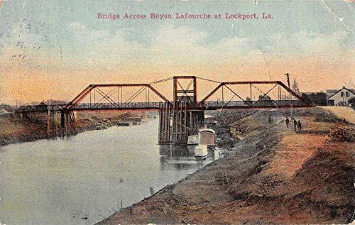 Lockport Louisiana Bridge Across Bayou Lafourche Vintage Postcard JA4742020