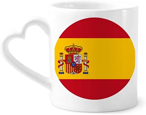 DIYthinker patrón de españa símbolo Nacional de la Bandera Europea café cerámica Taza de cerámica con la manija 12 oz Regalo del corazón: Amazon.es: Hogar
