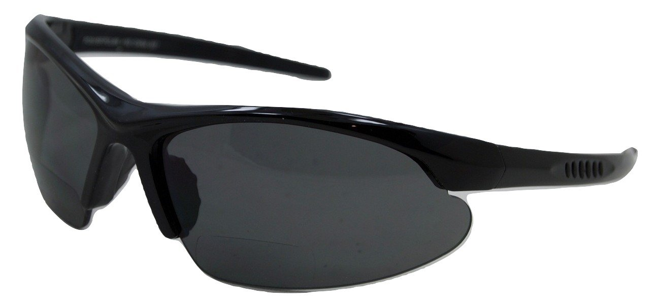 In Style Eyes Blazin Maui Wrap Polarized Nearly Invisible Line Bifocal Sunglasses Black 2.00 by In Style Eyes