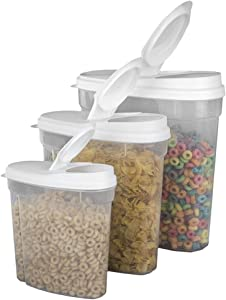 Set of 3 Containers - 5.5, 11.5 & 21 Cup - Cereal Storage Container/Keeper - Rice Food Storage for Kitchen and Pantry - Airtight Dispenser Lid & BPA-Free