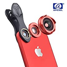 BPSMedia 2 in 1 HD High Quality Mobile Phone Camera Lens Kit - 4K Wide Angle + Aspheric Macro with Lens Hood, Universal Clip-On Cell Phone Camera Lenses Kit for iPhone, Samsung, Smartphones and Tablet (Red)