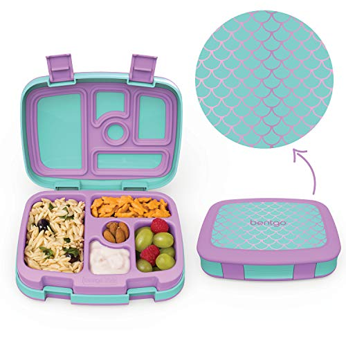Bentgo Kids Prints (Mermaid Scales) - Leak-Proof, 5-Compartment Bento-Style Kids Lunch Box - Ideal Portion Sizes for Ages 3 to 7 - BPA-Free and Food-Safe Materials -