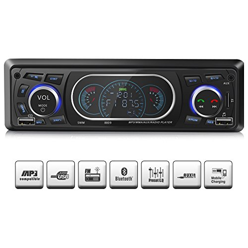 Car Stereo Receiver with Bluetooth, Single Din Univeral Car Radio,USB/TF Slot/FM/WMA/MP3 Player,Wireless Remote Control Included