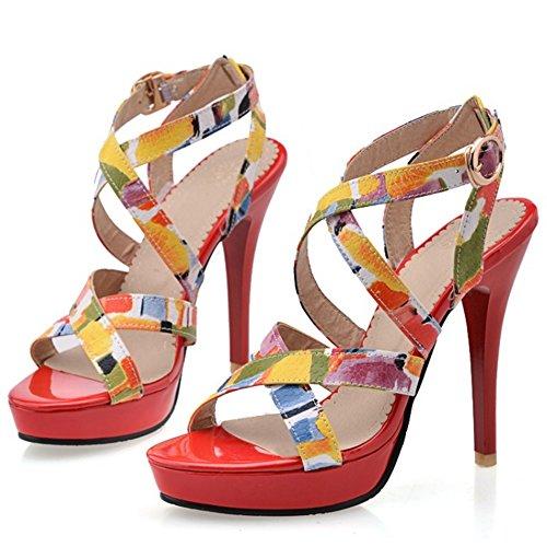 Frauen Criss Elegante Schuhe Open Rot Plattform Stiletto Cross Toe TAOFFEN Sandalen gpnSBOS