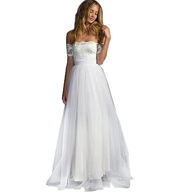 cad899a764 Siswong Vestido Novia Boda Blanco Largo Encaje Romantico Tul Shoulder Off  Manga Corta con Bowknot Elegantes