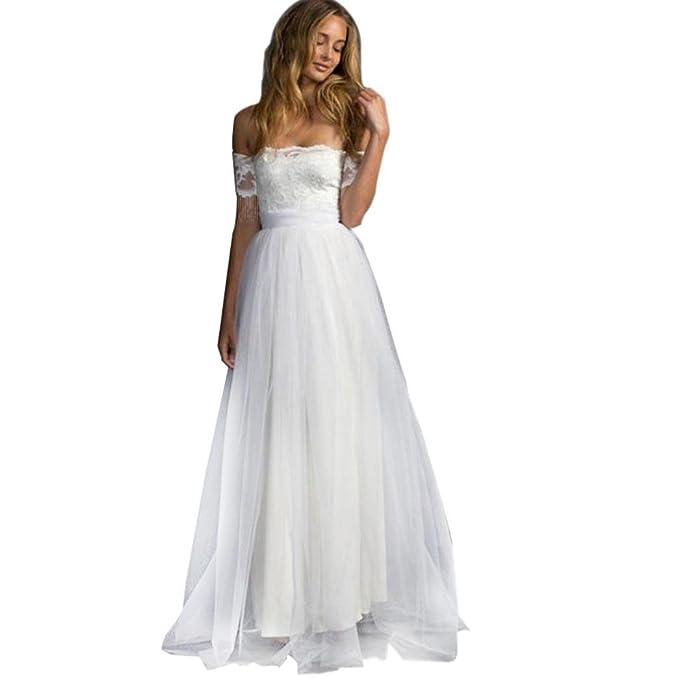 Siswong Vestido Novia Boda Blanco Largo Encaje Romantico Tul Shoulder Off Manga Corta con Bowknot Elegantes