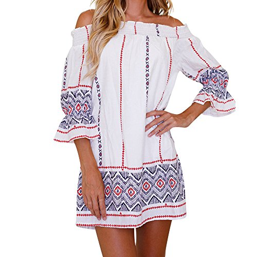 (HIRIRI Women Off Shoulder Pattern Print Short Skirt Loose Mini Skirts Semi-Flare Sleeve Lounge Wear White)