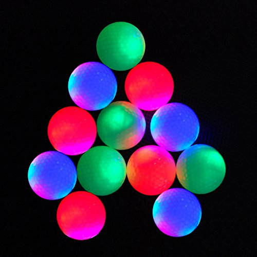 12-piece Flashing Golf Balls Light Golf Balls Super Bright Night Flyer Glowing LED Golf Ball (Mixed colors) -