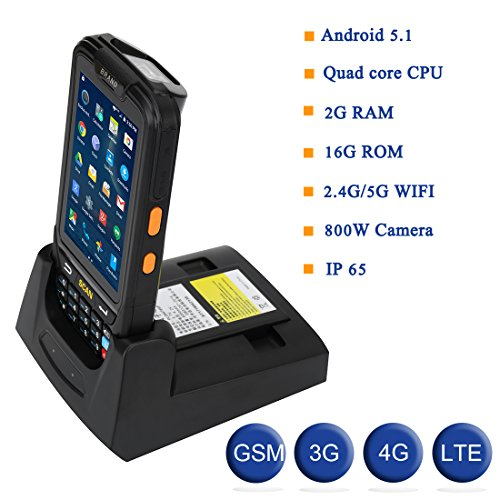 MUNBYN 3G 4G Handheld android 5.1 POS terminal with touch screen 1D honeywell barcode scanner bluetooth GPS with charger - Www.shopify.com
