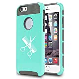 Apple iPhone 6 Plus / 6s Plus Shockproof Impact Hard Case Cover Hairdresser Cutting Scissors Comb (Teal)