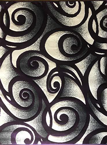 (Contempo Modern Area Rug Contemporary Purple & Grey Design 341 (4 Feet X5 Feet 3)