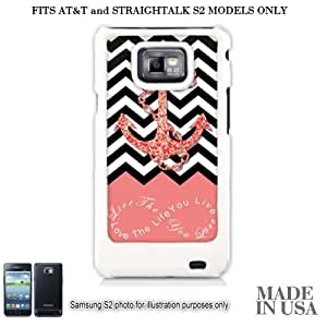 Anchor Live the Life You Love Infinity Quote (Not Actual Glitter) - Coral White Chevron with Anchor Samsung Galaxy S2 I9100 (FITS AT&T AND STRAIGHT TALK MODELS ONLY) Hard Case - WHITE by Unique