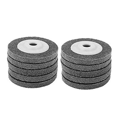 uxcell 4 Inch Dia 11mm Thick Nylon Fiber Wheel Abrasive Polishing Buffing Disc Gray 10pcs