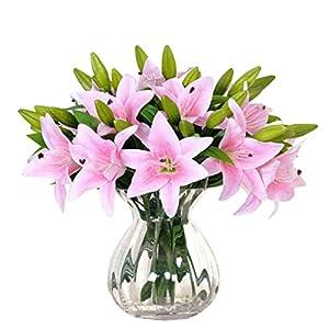 Fullkang 5pcs New Silk Flower Artificial Lilies Bouquet 3 Heads Home Wedding Floral Decor (Pink) 91