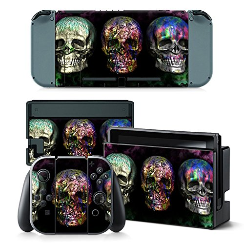 Gam3Gear Vinyl Decal Protective Skin Cover Sticker for Nintendo Switch Console & Controller - Color Skull