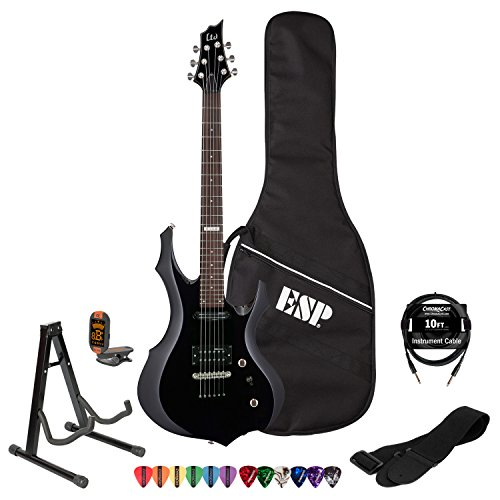 ESP LTD F10KIT-BLK Electric Guitar with ESP Gig Bag, Lesson, ChromaCast Strap, Tuner, Stand, Picks and Cable