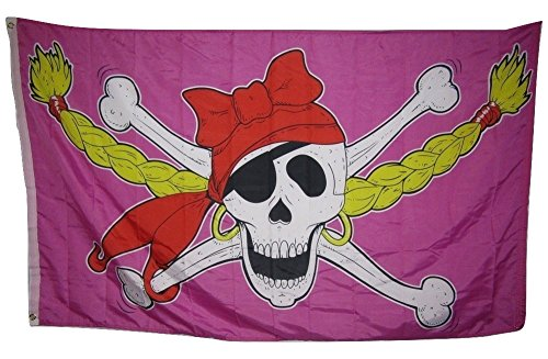 Pink Pirate Flag (3x5 Jolly Roger Pirate Princess Girl Pink Pigtales Rough Tex Knitted Flag 3'x5' Fade Resistant Double Stitched Premium Quality)
