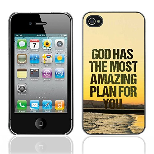 DREAMCASE Citation de Bible Coque de Protection Image Rigide Etui solide Housse T¨¦l¨¦phone Case Pour APPLE IPHONE 4 / 4S - GOD HAS THE MOST AMAZING PLAN FOR YOU