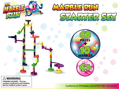 Mr. Marble Run Starter Set (48 Large Marble Run Pieces + 10 Glass Marbles) by Mr. Marble Run (Image #6)