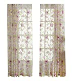 ASide BSide Sheer Curtains Voile Drapes Rod Pockets Countryside Style Floral Leaves Printed Home Decorations For Dining Room Bedroom and Kids Room (1 Panel, W 52 x L 104 inch, Pink)