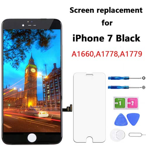 Screen Replacement for iPhone 7 Black 4.7 Inch LCD Display Touch Screen Digitizer Replacement with Repair Kit and Screen Protector (7-Black) (Digitizer Touch Replacement Screen)
