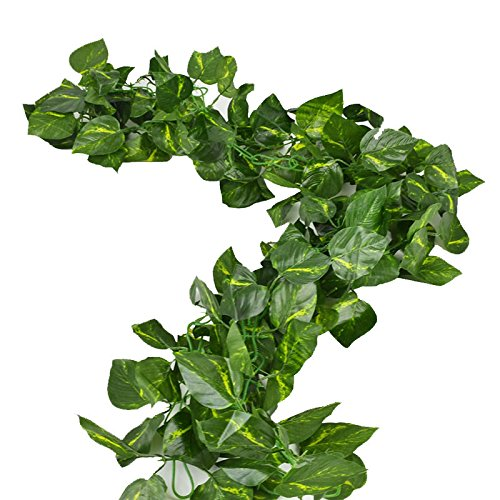 (Rurality Total 16 Ft - 2 Artificial Ivy Silk Greenery Fake Hanging Vines Wedding Garland,Epipremnum Aureum)
