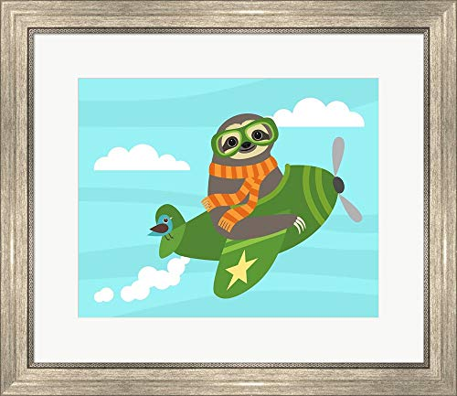 Airborne Sloth by Nancy Lee Framed Art Print Wall Picture, Silver Scoop Frame, 24 x 21 inches