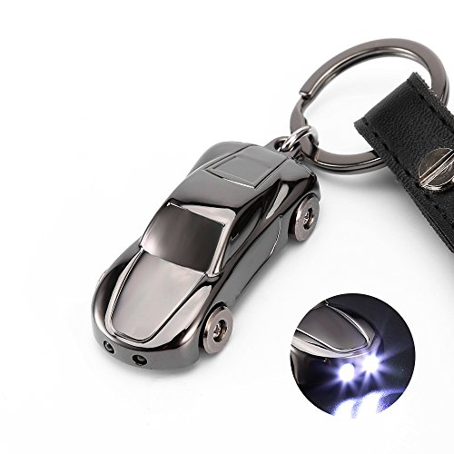 Leather Valet Key Chain Flashlights, Jobon Car Keychain with 2 Modes Bright LED Light, Key Rings for Men, Women Gifts Ideas (Gray)