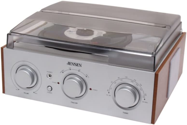 Jensen Premium Belt Driven 3-Speed AM/FM Radio Stereo Turntable with Built in Wooden Cabinet Speakers